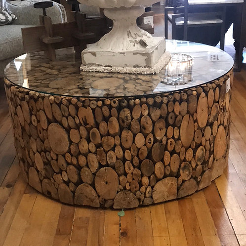 Cut Wood Round Coffee Table with Glass