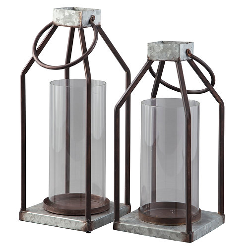 Metal Farmhouse Lanterns, Set of 2