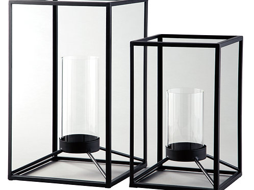 Black Open Metal Lanterns, Set of 2