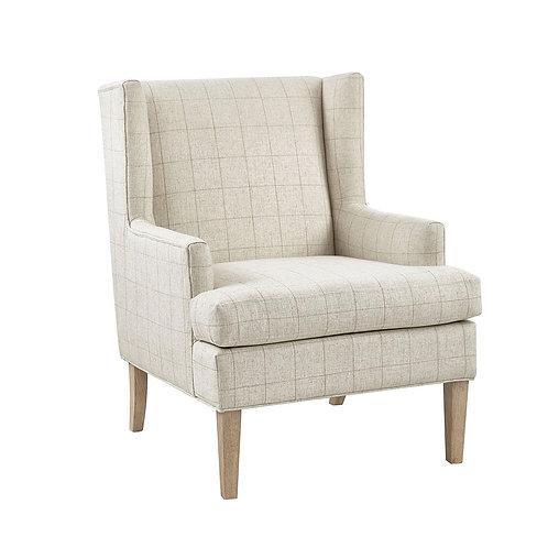Beige/Cream Plaid Wingback Chair