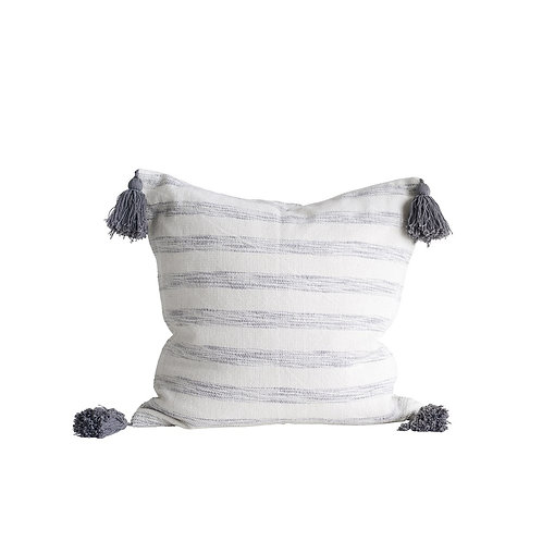 "18"" Grey & White Cotton Striped Pillow w/ Tassels"