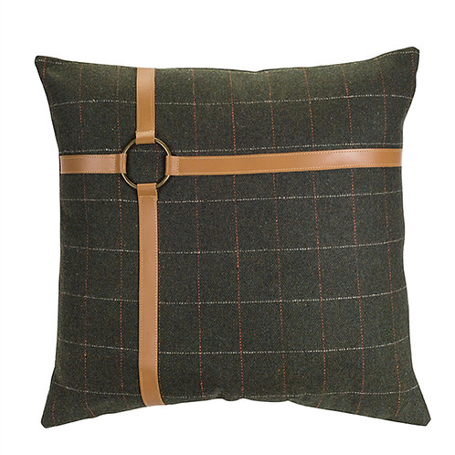 Green Plaid Pillow 17""