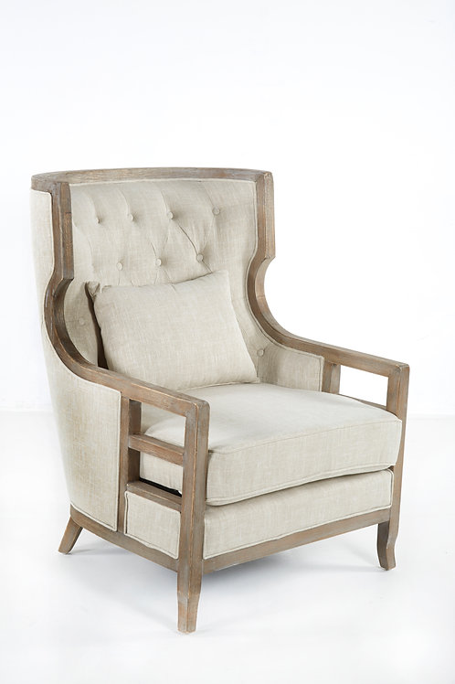 Athena Tufted Accent Chair with Dark Wood and Beige Linen