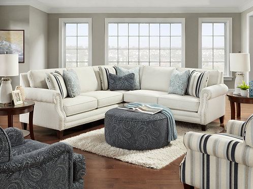 Sweater Bone & Navy Sofa/Sectional Collection