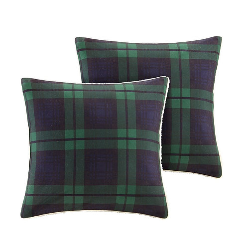 Pair of Blue Plaid & Berber Softspun Pillows