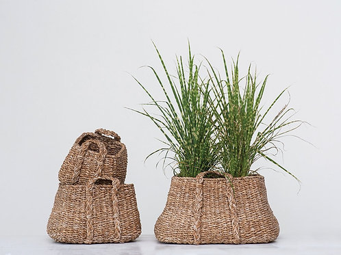 Natural Woven Seagrass Baskets w/ Handles, Set of 3