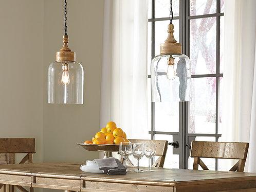 Butcher Block Glass Pendant Light