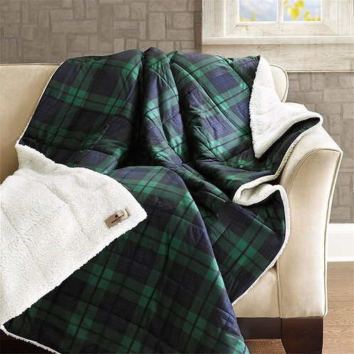 Blue Plaid Softspun Down Alternative Filled Throw