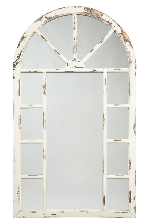 Antique White Wood Arched Mirror