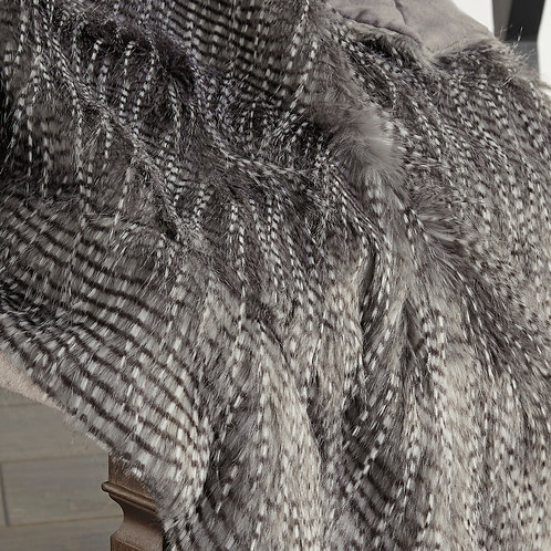 Gray Faux Fur Eyelash Throw