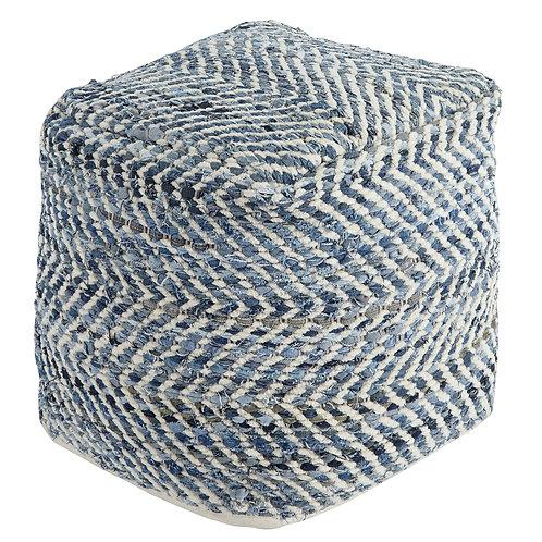 Blue Chevron Pouf