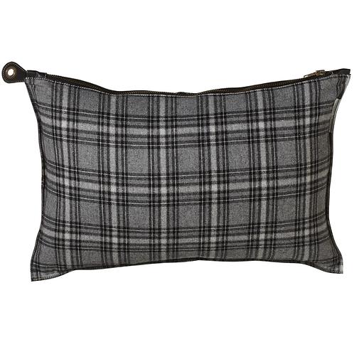 Grey Plaid Lumbar Pillow