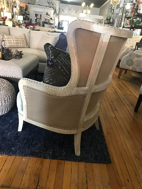 Exposed Frame Beige and Burlap Chair