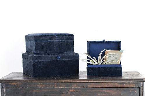 Velvet Boxes, Navy or Persimmon, Set of 3
