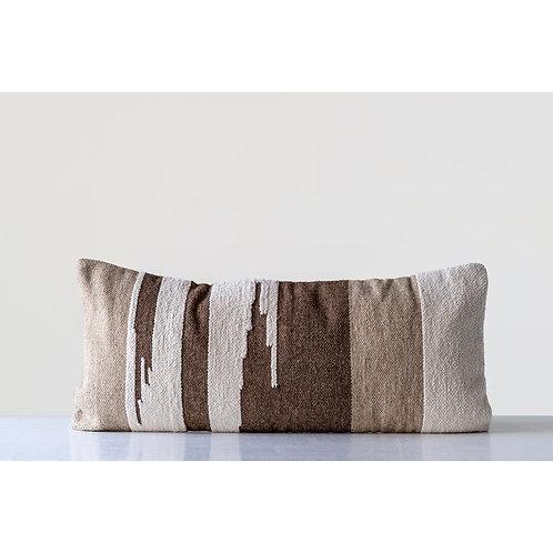Hand-Woven Wool Kilim Long Lumbar Pillow
