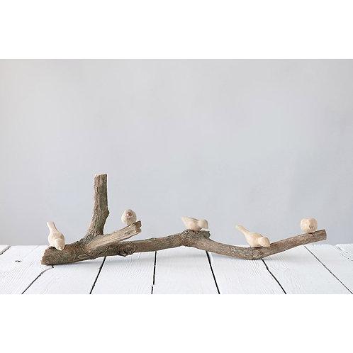 Driftwood Branch w/ Hand-Carved Mango Wood Birds