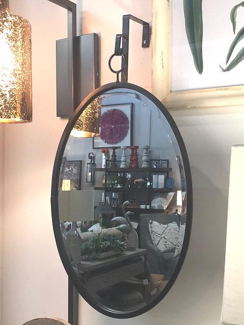 Black Oval Hanging Mirror