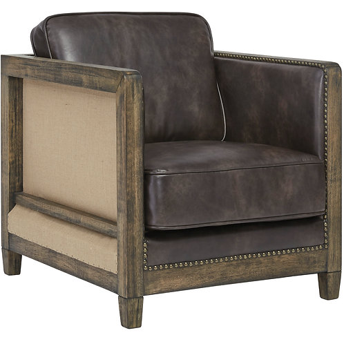 Wood Framed Shelter Club Chair - Faux Leather