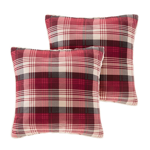 Pair of Red Plaid Berber Square Pillows