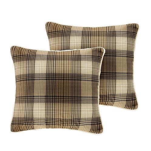 Pair of Brown Plaid Lumberjack Square Pillows