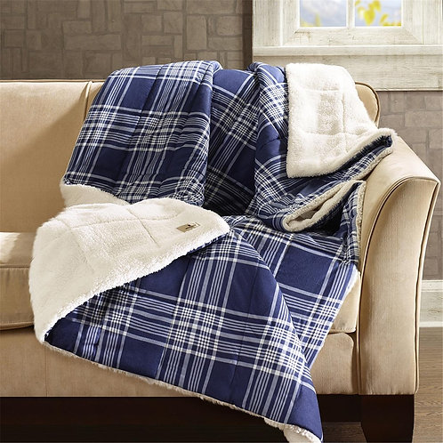 Navy Plaid Softspun Down Alternative Oversized Throw