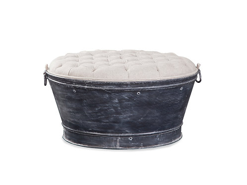 Tufted Cocktail Storage Ottoman with Metal Tub Base