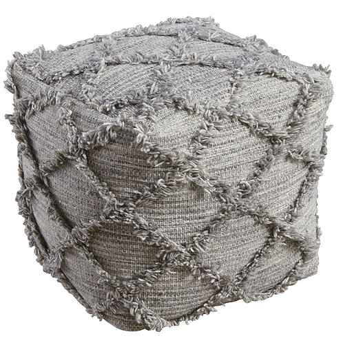 Square Grey Diamond Pouf