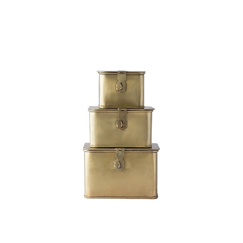 Decorative Brass Boxes, Set of 3