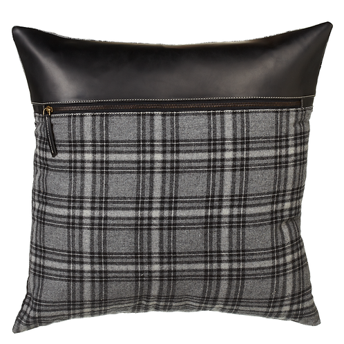Grey Plaid and Black Leather Pillow