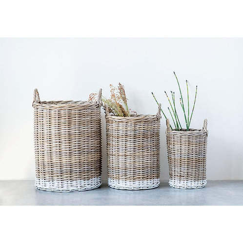 Natural Rattan Baskets w/ Handles, Dipped White, Set of 3