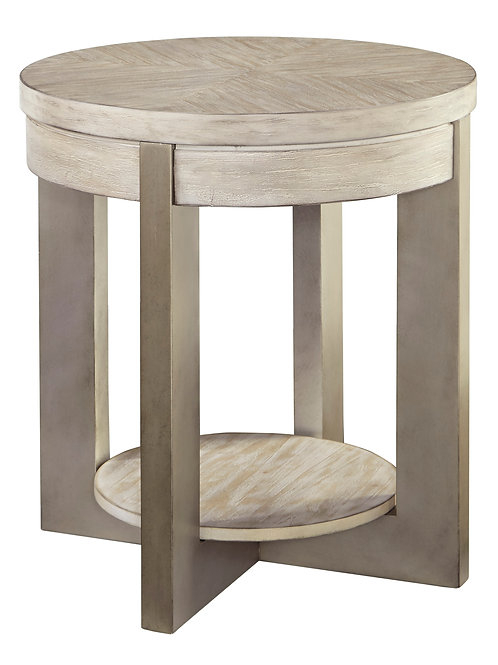 White Washed Modern Round End Table