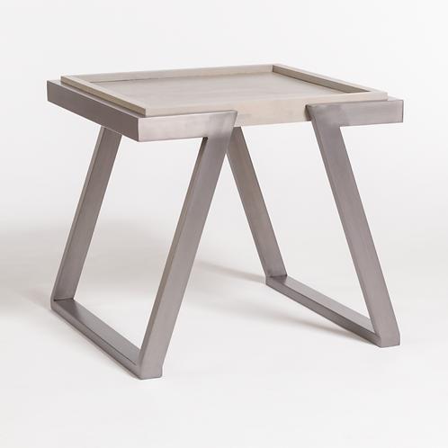 Grey Metal & Wood End Table