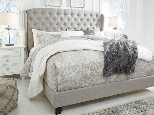 Jerrie Grey Upholstered Bed