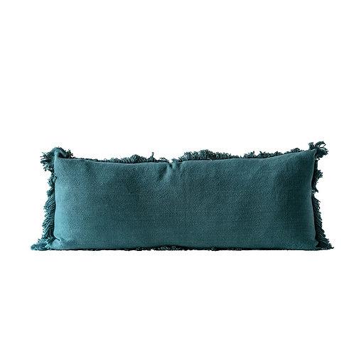 Green Cotton Pillow w/ Fringe Long Lumbar Pillow