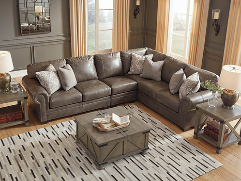 Ash Taupe Leather Sectional, 3pc