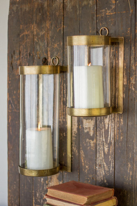 Antique Brass Wall Mounted Hurricane Lantern, 2 Sizes Available