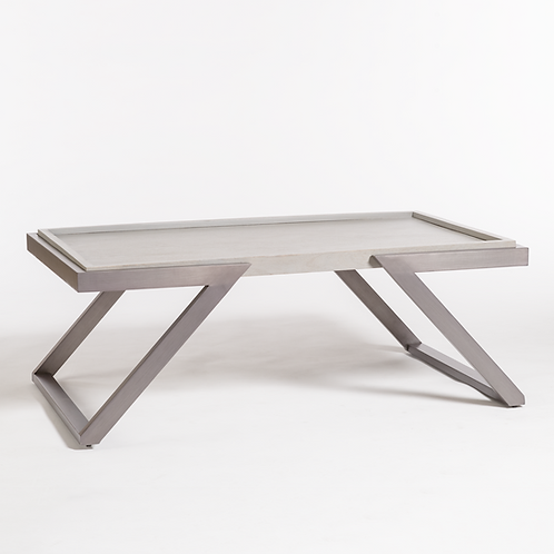 Grey Metal & Wood Cocktail Table