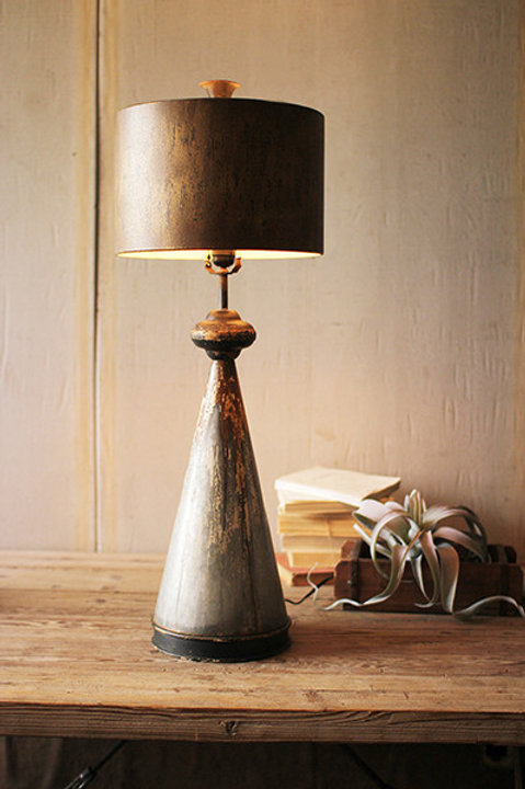Tall Vintage Look Metal Lamp with Metal Shade