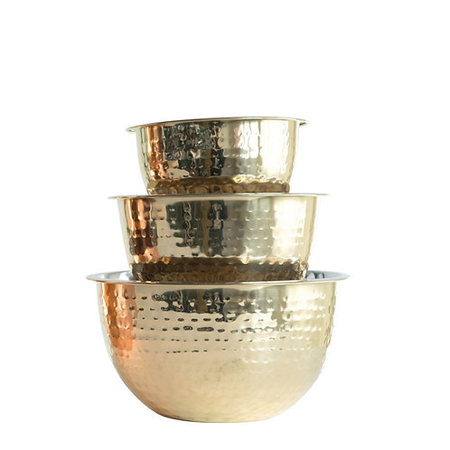 5, 3 & 1-1/2 Quart Hammered Stainless Steel Bowls, Gold Finish, Set of 3