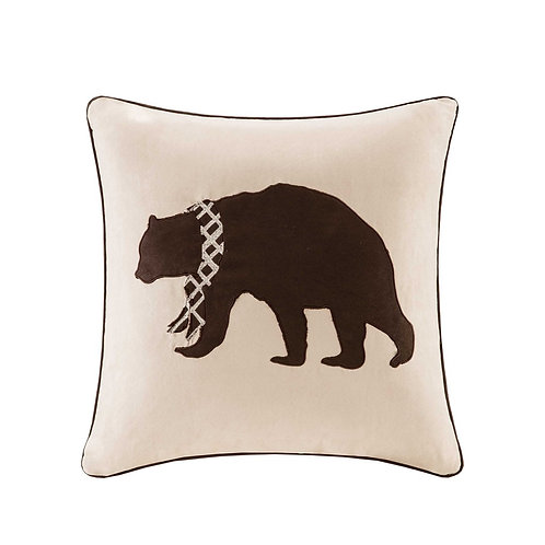Bear Embroidered Suede Square Pillow Square Pillow