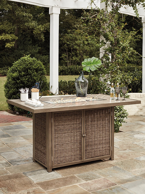Beach Outdoor Bar Table w/Fire Pit