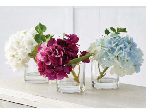 9 Inch Real Touch Hydrangea in Glass Vase, 3 Color choices