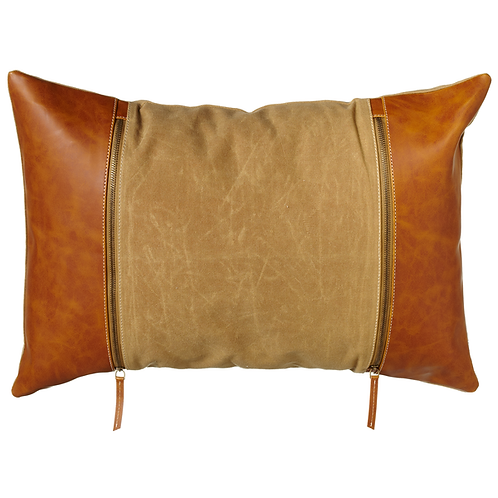Tan Canvas Leather Side Pillow