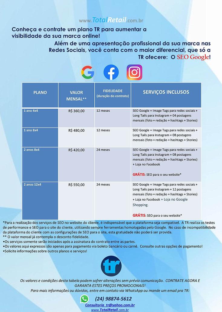 Tabela de Preços para Gerenimento Redes Sociais