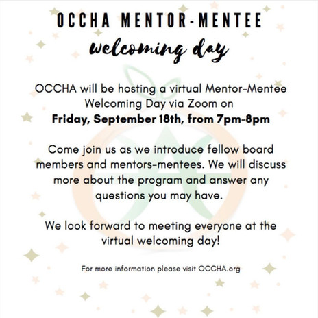 OCCHA Mentor Mentee Welcoming Day