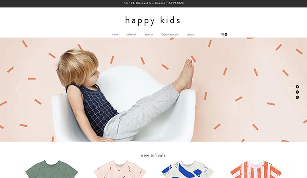 Online Store website templates – Kids Apparel