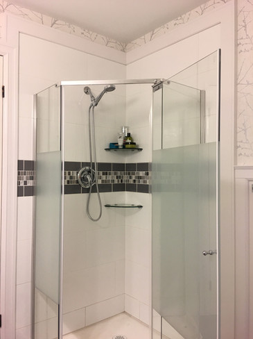 Washroom renovation with custom trimwork.