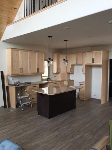 Cherry cabinets, kitchen install.
