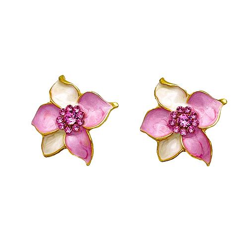 Swarovski crystal 18k gold elegant flower earrings