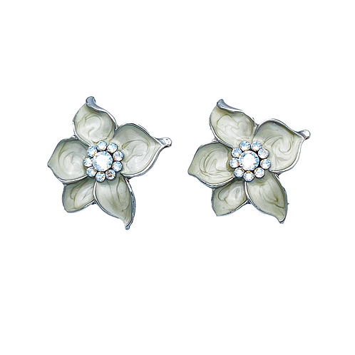 Swarovski crystal sterling silver elegant flower earrings